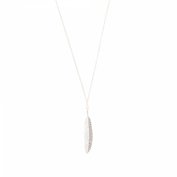 Delicate Feather Sterling Silver Necklace