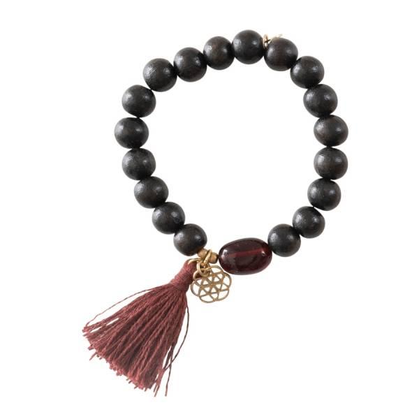 Satya Granat Blume des Lebens Gold Armband