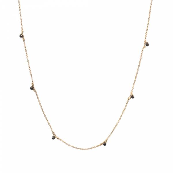 Mini Black Onyx Sterling Silver Gold-plated Necklace