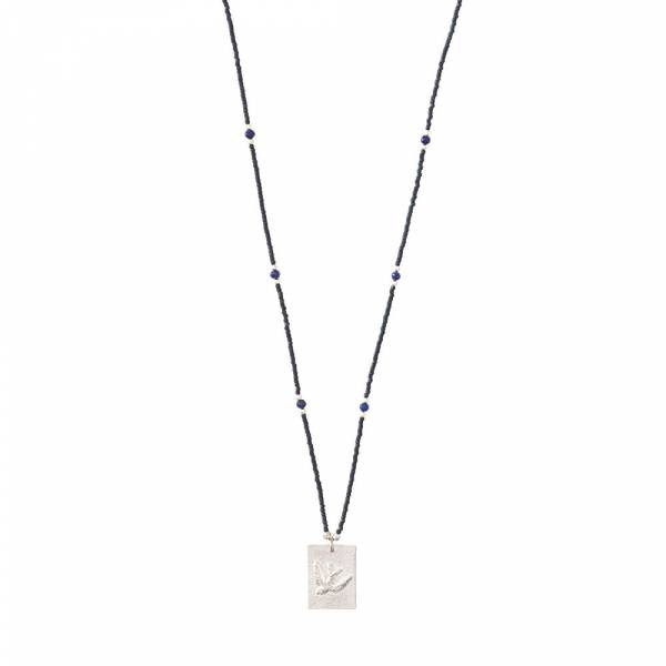Delight Lapis Lazuli Swallow Silver Necklace