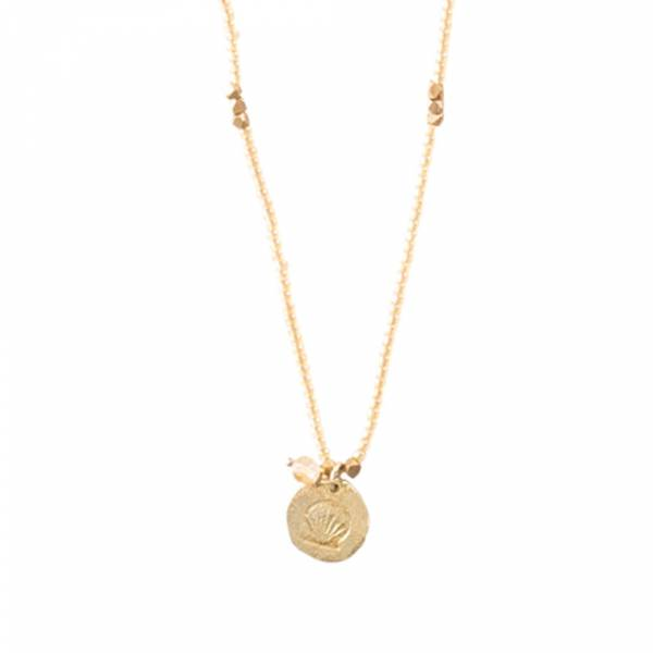 Truly Citrine Shell Gold Necklace