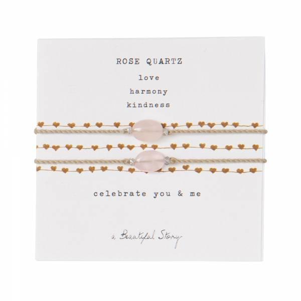 Gemstone Card You & Me Rose Quartz Silver