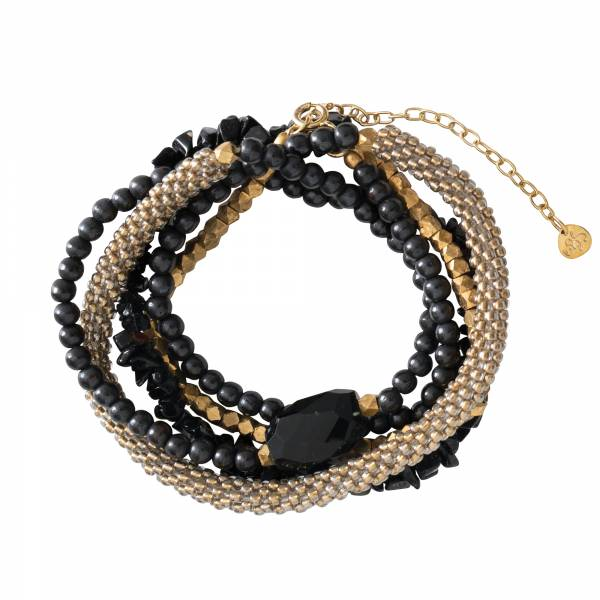 Superwrap Zwarte Onyx Goud Armband