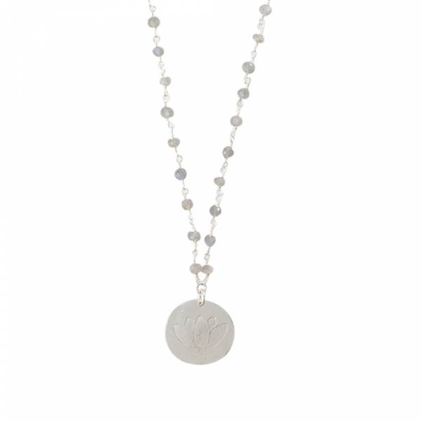 Rosary Labradorit Lotus Silberhalskette