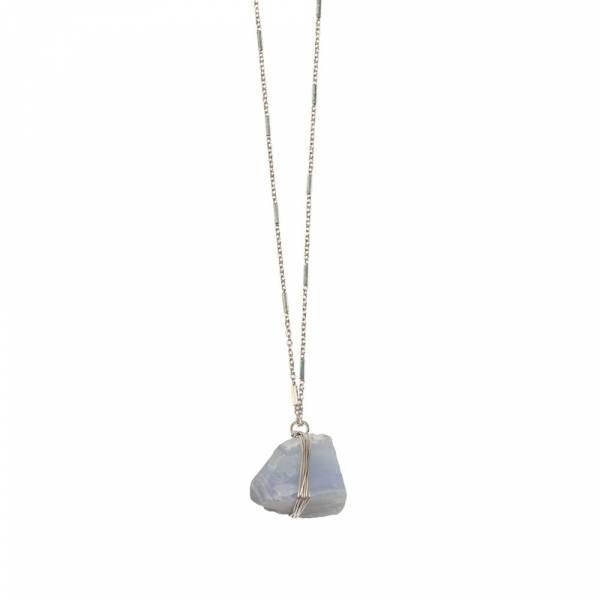 Passion Blue Lace Agate silver necklace