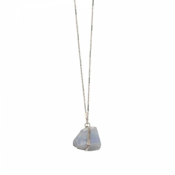 Passion Blauwe Agaat zilver ketting