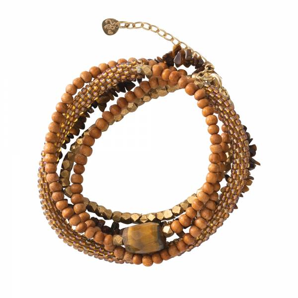Superwrap Tiger Eye Gold Bracelet