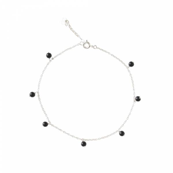 Adore Black Onyx Sterling Silver Anklet
