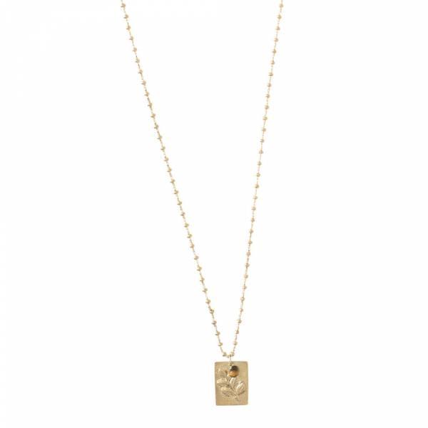 Galaxy Tigerauge Olivenzweig Gold Halskette