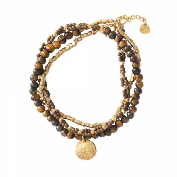 Dazzle Tigerauge Gold Armband