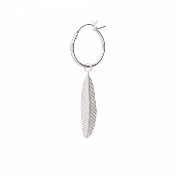 Feather Sterling Silver Hoop Earring