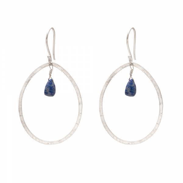 Ellipse Lapis Lazuli Silver Earrings