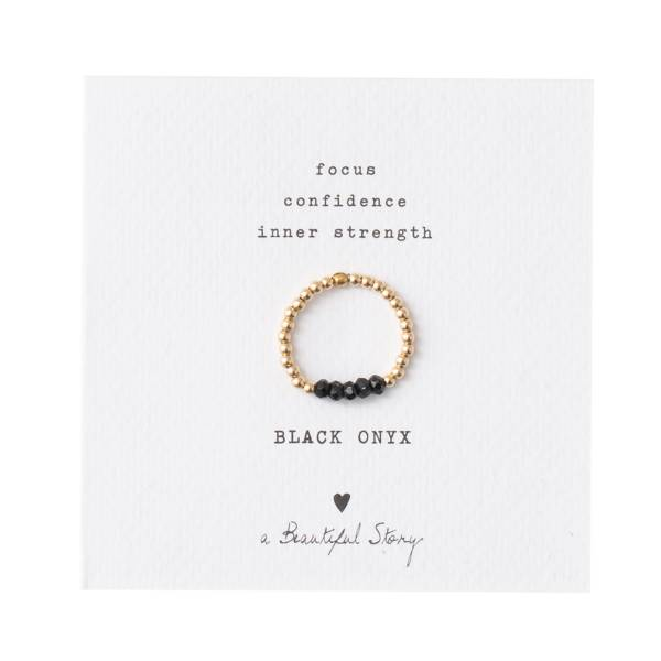 Beauty Schwarzer Onyx Gold Ring M/L