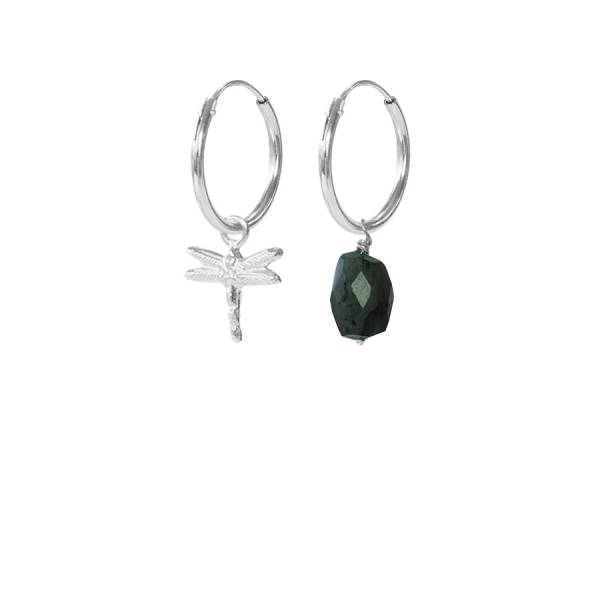 Dragonfly Labradorite Mixed Sterling Silver Earrings