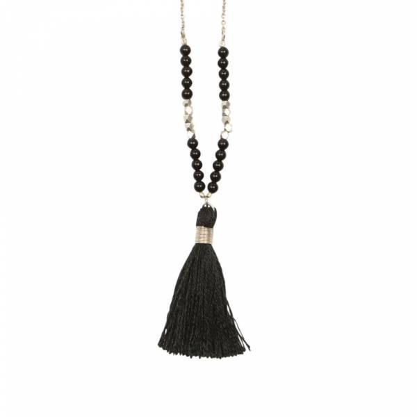 Happy Black Onyx silver necklace