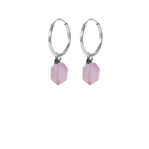 Rose Quartz Heart Sterling Silver Earrings