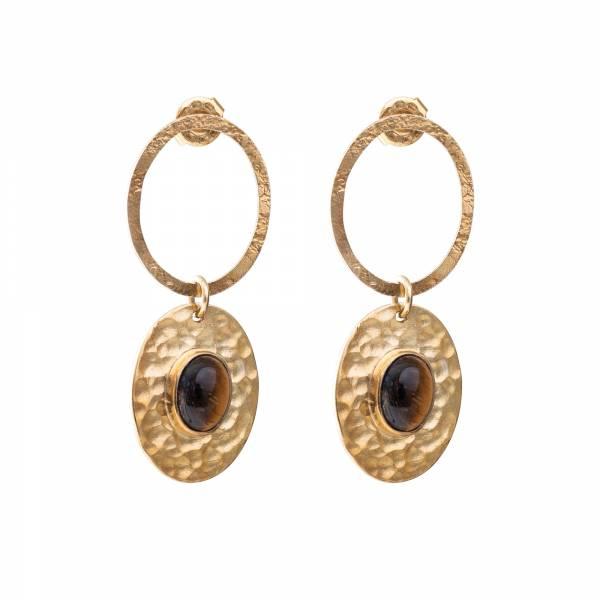Thankful Tiger Eye Gold earrings