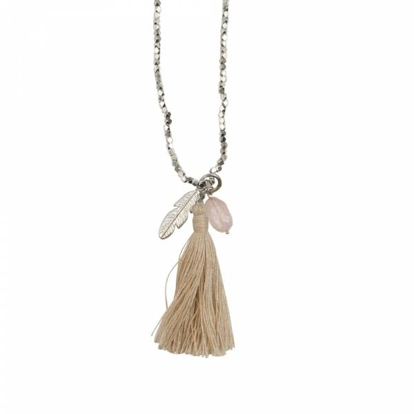 Bloom Rose Quartz Feather Silver Necklace
