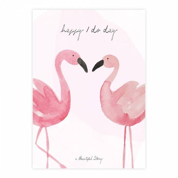 Greeting Card Flamingos