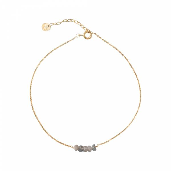 Cute Labradorite Sterling Silver Gold-Plated Anklet