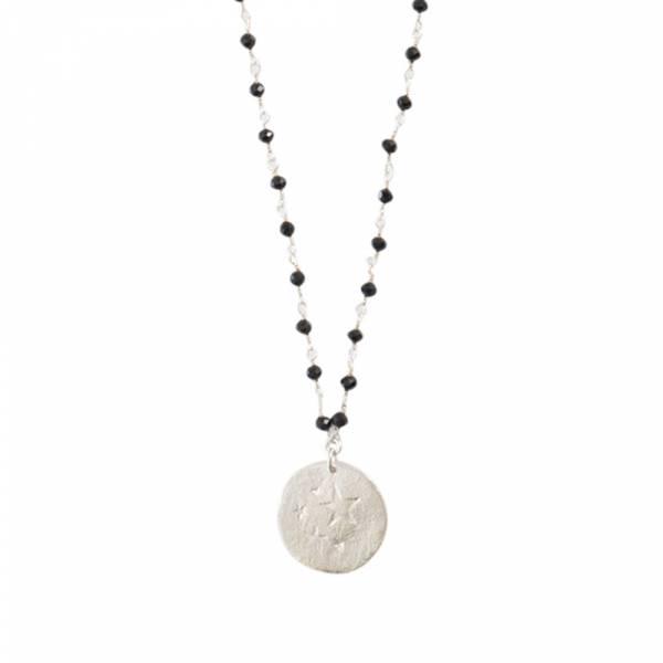 Rosary Schwarzer Onyx Stern Silberhalskette