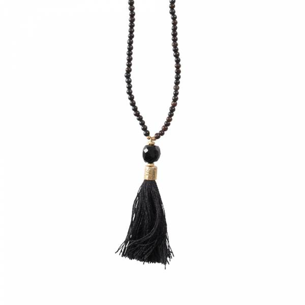 Mala Black Onyx Gold Necklace