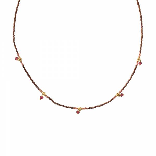 Cocoon Garnet Gold Necklace
