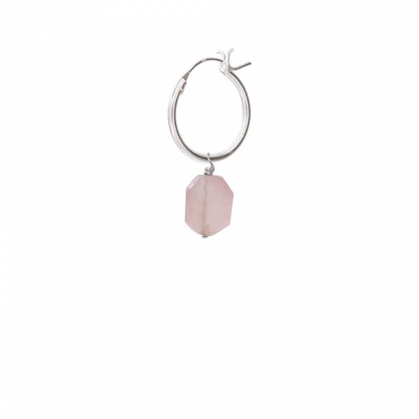 Rose Quartz Sterling Silver Hoop Earring