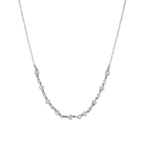 Tiny Rose Quartz sterling silver necklace