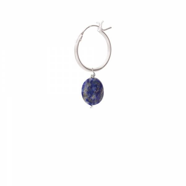 Lapis Lazuli Silver Hoop Earring