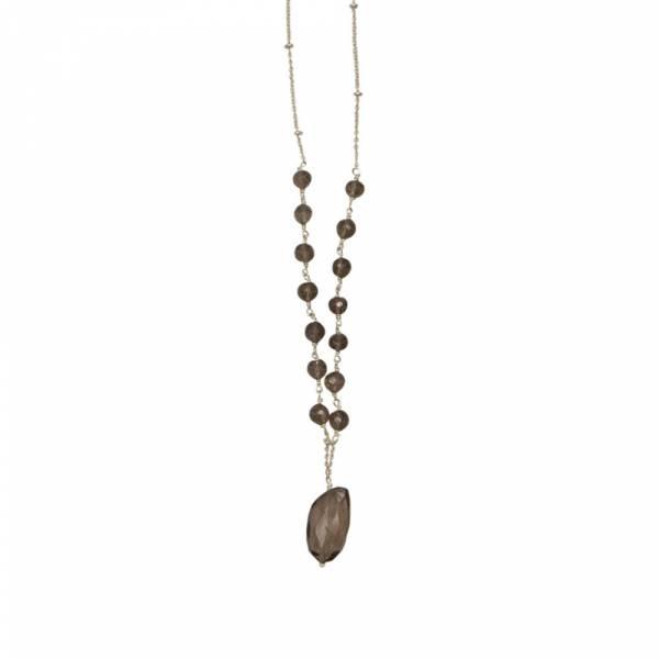 Festive Rauchquarz Silber Halskette