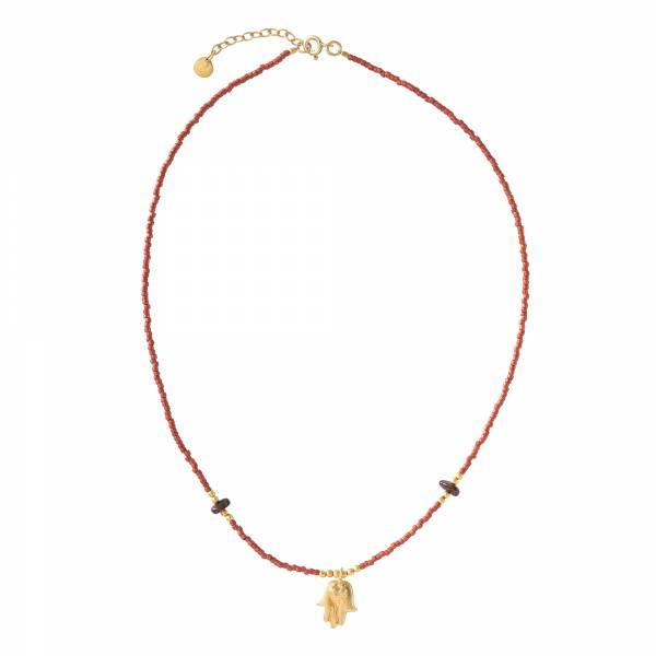 Wildflower Granat Gold Halskette