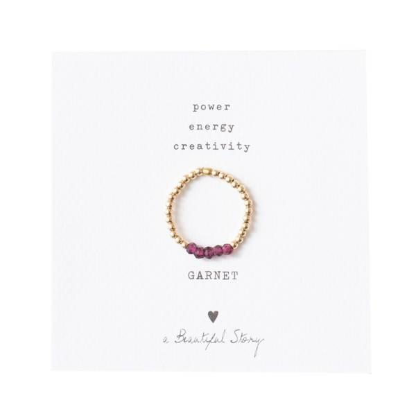 Beauty Garnet Gold Ring M/L