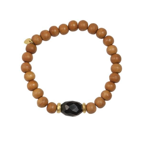Mala Zwarte Onyx sandelhout armband
