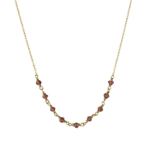 Tiny Garnet sterling silver goldplated necklace