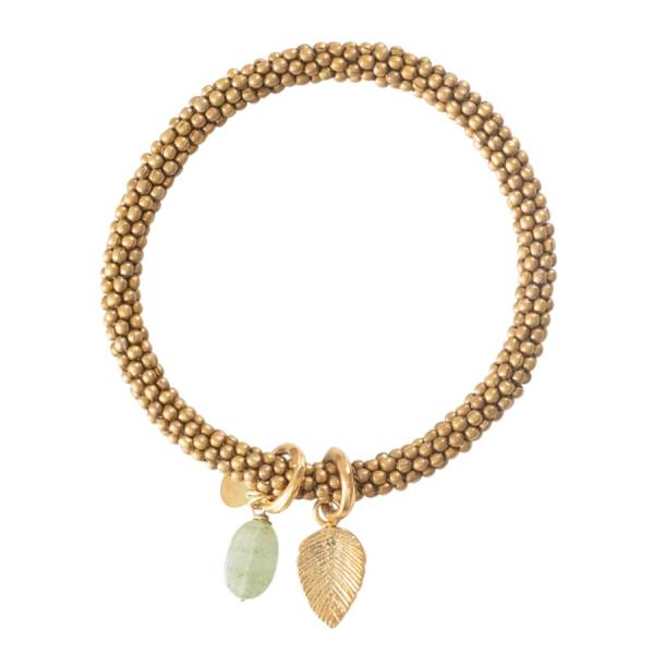 Jacky Aventurine Leaf Gold Bracelet