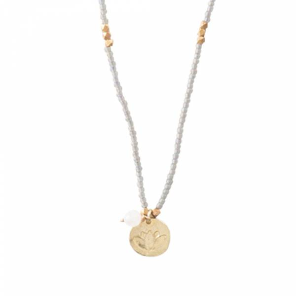Truly Moonstone Lotus Gold Necklace
