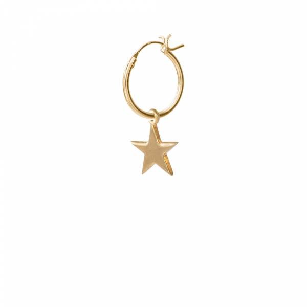 Big Star Sterling Silver Gold-Plated Hoop Earring