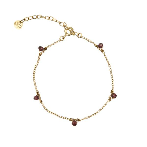 Mini Granat Sterlingsilber vergoldete Armband