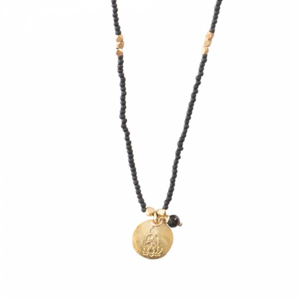 Truly Schwarze Onyx Buddha Gold Halskette