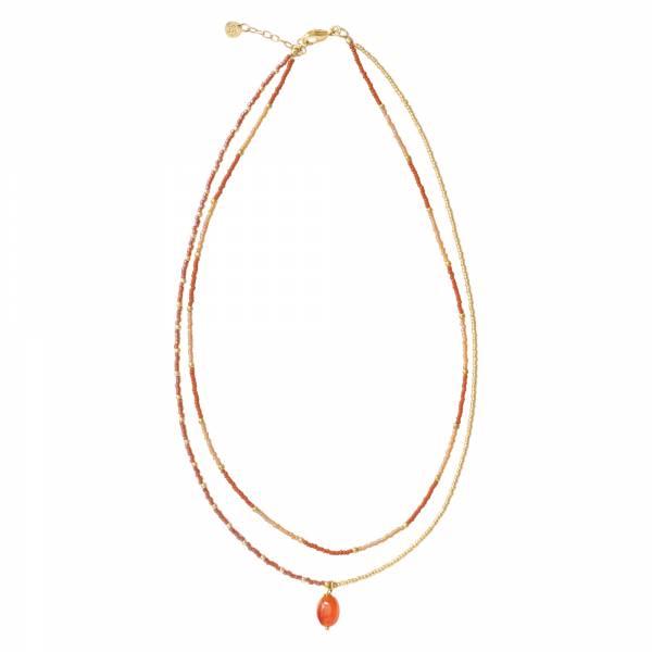 Rainbow Carnelian Gold Necklace