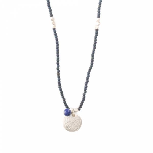 Truly Lapislazuli Schmetterling Silber Halskette