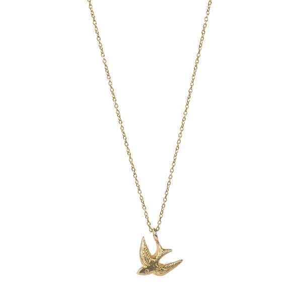 Delicate Swallow sterling silver goldplated necklace