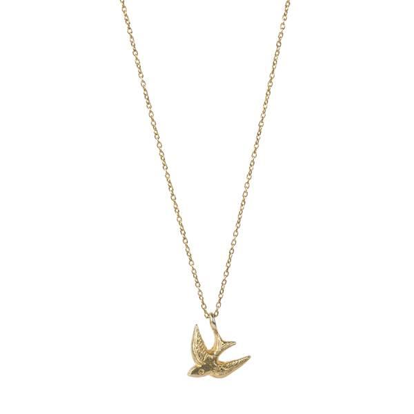 Delicate Schwalbe Sterlingsilber vergoldete Halskette