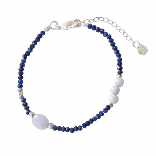 Sweet Lapis Lazuli Blue Lace Agate Silver bracelet