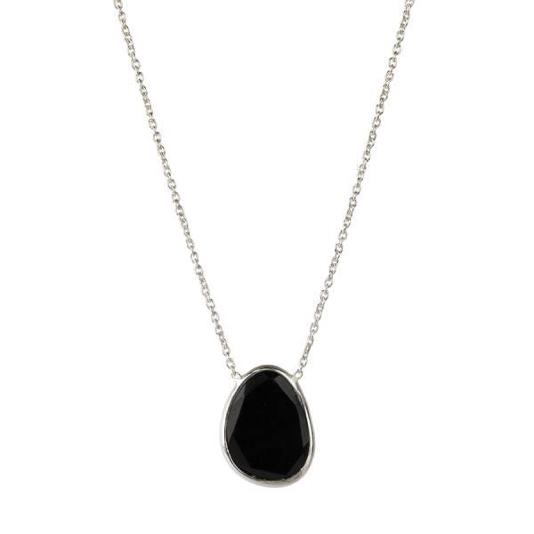 Tender Schwarzen Onyx Sterlingsilber Halskette