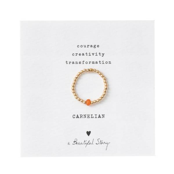 Sparkle Carnelian Gold Ring M/L