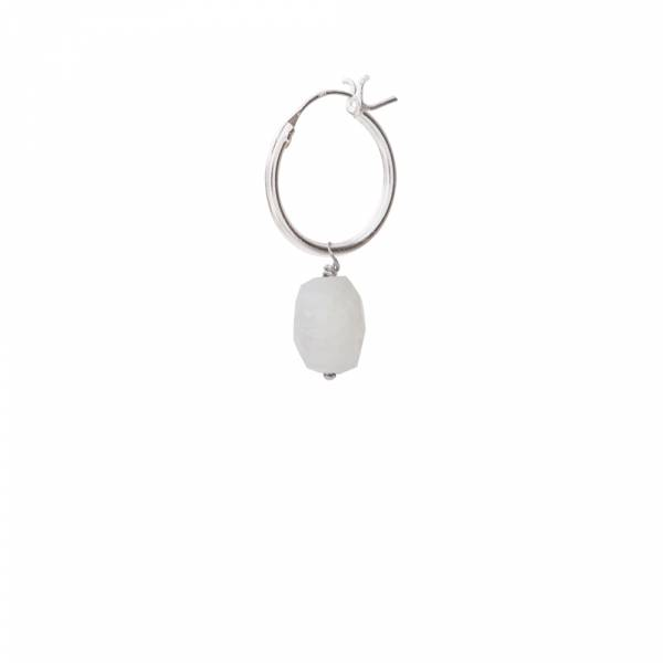 Moonstone Sterling Silver Hoop Earring