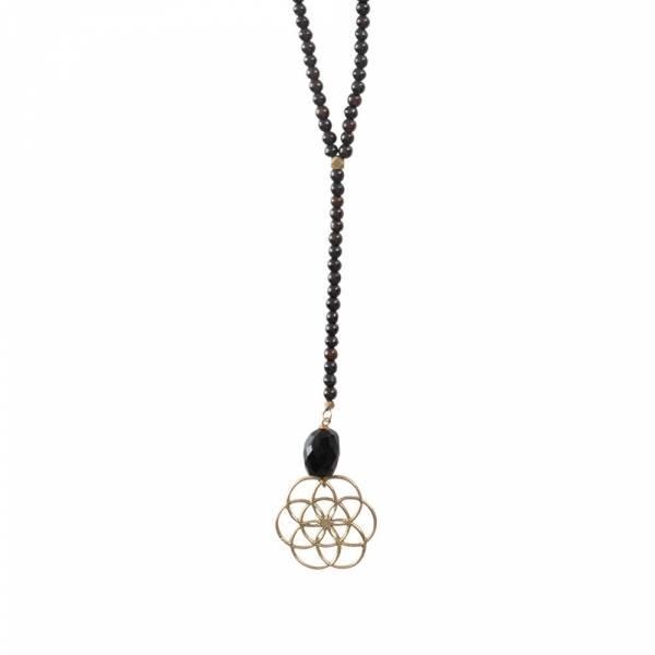 Namaste Black Onyx Flower of Life Gold Necklace