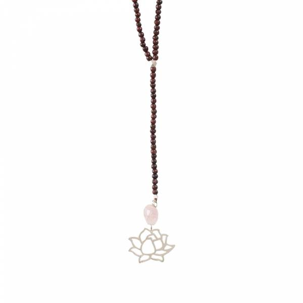Namaste Rose Quartz Lotus Silver Necklace